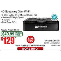 SiliconDust HDHomeRun Extend HDTC-2US-M HD Streaming Over WiFi $  129@Frys w/emailed code 20-ft Bytecc HDMI Cable $  5 w/FS; MSI 970A SLI Krait USB3.1 Motherboard $  40AR