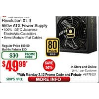 Enermax Revolution X't II 80Plus Gold Power Supply $  50AR@Frys (w/emailed code starts 3/13)