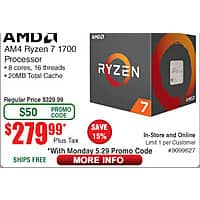 AMD Ryzen 7 1700 Prcoessor $  280@Frys (w/emailed code) 1TB Seagate Backup Plus Slim Portable Hard Drive $  40