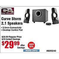 Cyber Acoustics Curve Storm 2.1 44W Speaker System w.Control Pod CA-3350 $  30@Frys