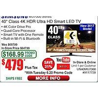 """Samsung 40"""" MU7000 Series 4K UHD Smart HDTV $479 (w/emailed code)"""