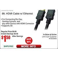 8-ft ProHT HDMI Cable $  1.50 w/FS;  480GB Sandisk Ultra II SSD $  142 (w/emailed code)