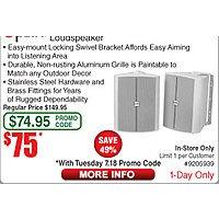 "Polk Audio 6.5"" Weather-Resistant Outdoor Loudspeaker $75 (w/emailed code)"