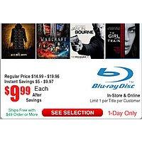 $10 Bluray - Girl on the Train, Jason Bourne, Sleepless