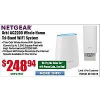 Netgear Orbi AC2200 Tri-Band Whole Home Wi-Fi System RBK30 $  249