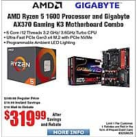 AMD RYZEN 5 1600 AM4 CPU and GIGABYTE GA-AX370-Gaming K3 Motherboard $320AR Patriot Viper 8GB (2x 4) DDR3 2400 Desktop RAM $42AR