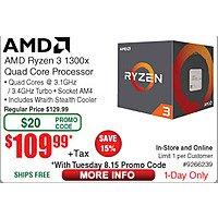 AMD Ryzen 3 1300X AM4 Processor $  110 (w/emailed code 8/15)  5TB Seagate Backup Plus Portable HDD $  129