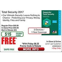 Kaspersky Total Security 2017 - 3 Device / 1Yr Free after $  55 Rebate (w/emailed code 8/25)