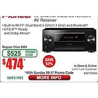 Pioneer SCLX501 7.2 D3 Amps Home Theater Receiver $  474 (w/emailed code starts 9/17)