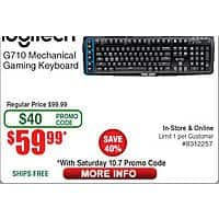 Logitech G710 Mechanical Gaming Keyboard $  60 w/ Emailed Code