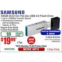 Intel i3 7320 CPU $  99; 64GB Samsung DUO OTG USB 3.0 Flash Drive $  20 (w/emailed code 10/30) Inland Laptop Cooler $  4;