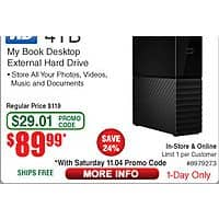 4TB WD My Book Desktop Hard Drive $  90 (w/emailed code 11/4)