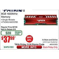 8GB Patriot Viper 3 DDR3 1600 Desktop RAM $  38AR @Frys