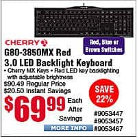 Cherry G80-3850 MX Red/Brown/Blue 3.0 Keyboard $  70@Frys