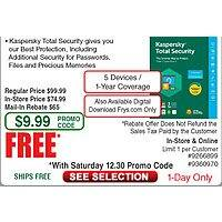 Kaspersky Total Security 2018 5 Device/1yr  Boxed or DL free after $  65 Rebate @Frys