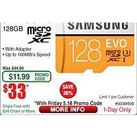 Samsung 128GB MicroSDXC EVO U3 Memory Card w/ Adapter $33 AC @Frys