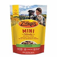 Zuke's Natural Training Dog Treats; Mini Naturals [Duck Recipe] 6oz for 2.53 or less with Amazon s&s $2.53