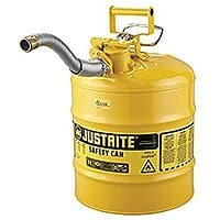 "Justrite 7250230 AccuFlow 5 Gallon, 11.75"" OD x 17.50"" H Galvanized Steel Type II Yellow Safety Can With 1"" Flexible Spout"