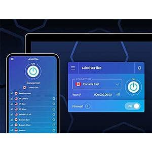 Windscribe VPN Pro Plan: 3-Yr Subscription $54