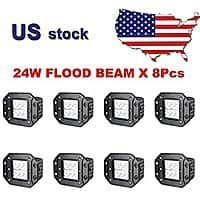 "LED spotlights for off-road vehicles: 8pcs 24W 4.7"" square LEDs in IP67 waterproof enclosure, Amazon $  47.99 w/free shipping"