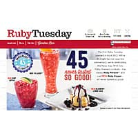 Ruby Tuesday 45th Birthday sale - 45% off entire food purchase April 12, 2017 (prior? sign-up required)