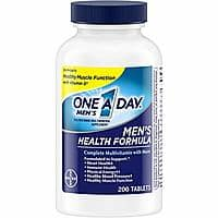 One A Day Men's Multivitamin, Supplement with Vitamins A, C, E, B1, B2, B6, B12, Calcium and Vitamin D, 200 count $3.74