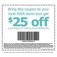 $25 off $150 Purchase at Ikea stores, in stores only