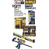 Ace Rewards Members: Select Stanley, Irwin, and DeWalt Drill Bit Sets, Measuring Tools $10 w/ Free In-Store Pickup