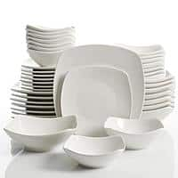 40-Piece Brentwood White Soft Square or Camrose Round Dinnerware Set (Service for 8) $40 at Home Depot + FS on $45+