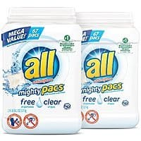 all Mighty Pacs Laundry Detergent, Free Clear, 67 Count, 2 Tubs $6.28 with Alexa