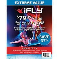 Sam's Club Members: $80 iFLY Indoor Skydiving 1 Voucher 2 Flights $42 + Free S&H (Redeemable at Select Locations)