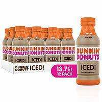 12 Count 13.7 Ounce Bottles Dunkin Donuts Iced Coffee (Original)  - $15.60 AC & S&S ($13.20 AC & 5 S&S Orders) + Free Shipping - Amazon
