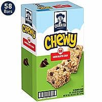 58-Count Quaker Chewy Granola Bars, Chocolate Chip $7.90 5% or $6.77 15% AC w/s&s Prime Member Exclusive