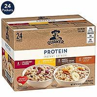Prime Day: 24-Count Quaker Instant Oatmeal (Protein Variety Pack) $8.99 5%