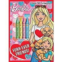 Barbie Furr-Ever Friends! Coloring book (48 Pages), 4 Chunky Crayons & 50 stickers $1.98 - Amazon