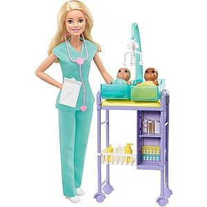Barbie Baby Doctor Doll & Playset (Blonde or Brunette) $12.88 - Amazon