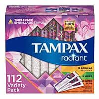 112-Count Tampax Radiant Plastic Tampons (Duo or Triple Pack) $13.55 w/ S&S + Free S&H