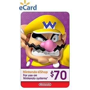 $70 Nintendo eShop credit for $49.54 at Walmart  [Digital Download]