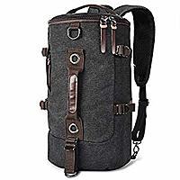 LUXUR Retro Duffel Cylinder Bag 26L Canvas Travel Backpack for Men Hiking Luggage Weekend Bag $  16.79