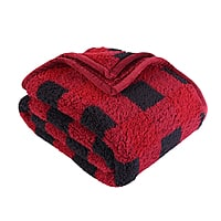 """Better Homes & Gardens Sherpa Throw Blanket, 50"""" x 60"""", Red Plaid + Free Store Pickup $5"""