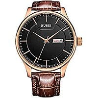 BUREI Mens Day and Date Brown Calfskin Leather Watch with 42mm Black Dial $  24.49 with warranty ac amazon prime