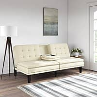 Mainstays Memory Foam Faux Leather PillowTop Futon w/Cupholders, Multiple Colors $$189.99