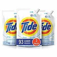 9 Pack of 48 oz. Pouches, Tide Free and Gentle HE Laundry Detergent, Unscented and Hypoallergenic for Sensitive Skin $36.27