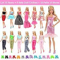 Lot 15 Items 5 Sets Fashion Casual Wear Clothes Outfit Handmade Party Dress with 10 Pair Shoes for 11.5 Inch Girl Doll $6.64