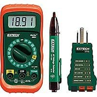 Extech MN24-KIT Electrical Test Kit (Multimeter, Multimeter Test Leads,  Voltage Detector, storage case) at its lowest price @amazon for $15.03 (70% off)