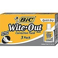 BIC Wite-Out Quick Dry Correction Fluid (3 Pack) $  2.88 + Free Shipping