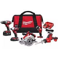 Milwaukee M18 18-Volt Lithium-Ion Cordless Combo Tool Kit (5-Tool) with (1) 3.0Ah and (1) 1.5Ah Battery, (1) Charger, (1) Tool Bag - $299