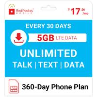 Red Pocket Mobile 360 Day Plan 5GB $209.99
