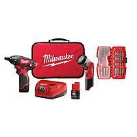 Milwaukee M12 Combo kits with Driver / Flashlight battery / Charger / Bit set combo $99