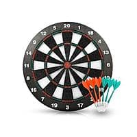 Safety Darts Equipment Dartboard Set with 6 Darts Room Board Games-16 Inch Stipple Dart Board - FREE + FS